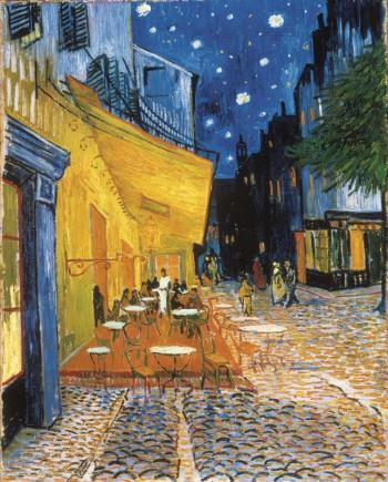 夜晚咖啡馆的露台